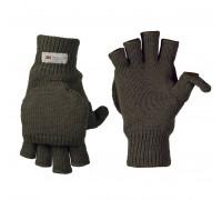 Милтек перчатки беспалые с клапаном вязаные олива