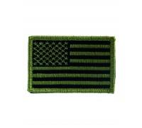 Нашивки флаг США матерчатый, олива, Mil-tec.