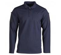 Рубашка-поло с длинным рукавом, быстросохнущая, темно-синего цвета