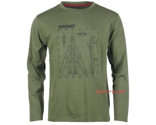 Рубашка с длинными рукавами и принтом 'Top Gun' оливковая