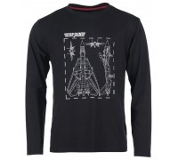 Рубашка с длинными рукавами и принтом 'Top Gun' черная