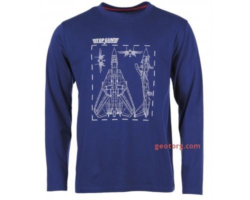 Рубашка с длинными рукавами и принтом 'Top Gun' темно-синяя