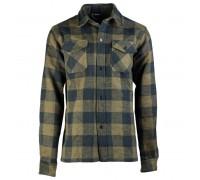 Фланелевая рубашка в клетку (черный-оливе)