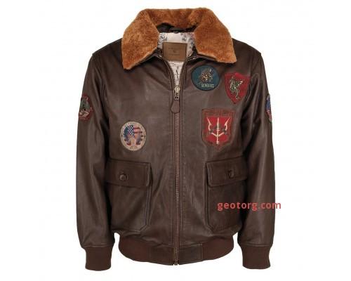 """Кожаная летная куртка """"TOP GUN"""" коричневая"""