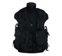 Жилет разгрузочный для магазинов АК-74, 12 карманов, Mil-tec, черный.