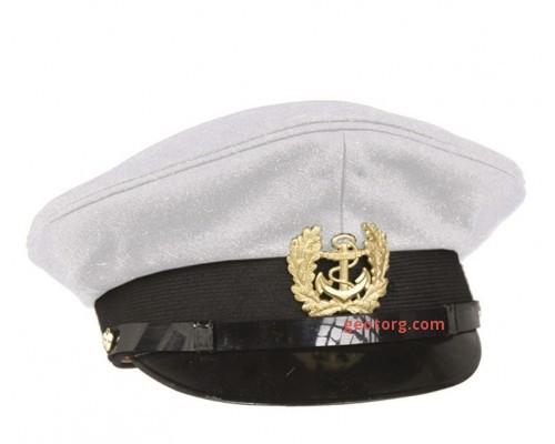 Фуражка моряка с эмблемой белая