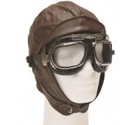 Шлем летный кожаный, Mil-tec, коричневый.